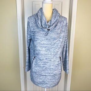 Soft Surroundings Blue Cowl Neck Sweatshirt Sz M
